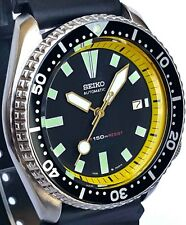 Vintage mens SEIKO diver 7002 mod w/GOLD Plongeur hand set & YELLOW Chapter Ring