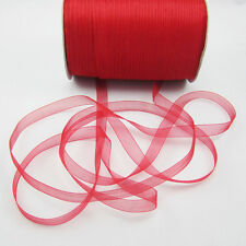 "NEW Christmas hot sale 50 Yards 3/8"" Edge Sheer Organza Ribbon Craft Satin Red"