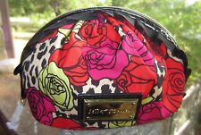 New Betsey Johnson Posies Floral Ruffle Cosmetic Bag