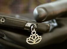 New Silver Lotus Flower Yoga Charm Cell Phone Smart Phone Dust Plug