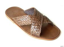 new men's PRADA brown woven leather LOGO sandals slides shoes 8.5 US 9.5 - comfy