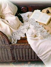 Victorian Sweet Cream Flannel  Crochet Lace Soft Bed Sheets,Full Size.