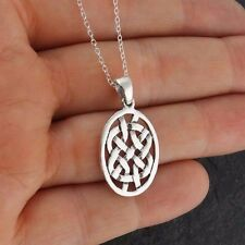 Celtic Knot Oval Pendant Necklace - 925 Sterling Silver  Infinity Irish Love NEW