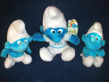 3 PLUSH SMURF DOLLS TRUE BLUE FRIEND T-SHIRT PEYO &BG6 CHRISTMAS BOWS +GIFT TAGS