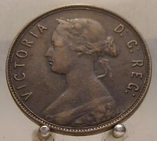 1885 Canada Newfoundland Bronze 1 Cent, Old Bronze World Coin, Key Date