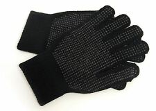 Mens Warm Stretchy Magic Gripper Gloves in Black with Dotted Grips
