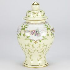 NEW European antique yellow hand painted Temple jar vase rose vintage 25cm 10""