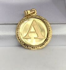 18k Solid Yellow Gold Letter Initial A Round Charm Pendant, 2.65 Grams