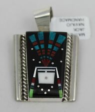 Navajo Indian Pendant Sunface Chief Inlay Night Sky Sterling Silver Mathew Jack
