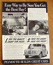 1940 Plymouth Ad  Easy Way to Be Sure You Get the Best Buy!
