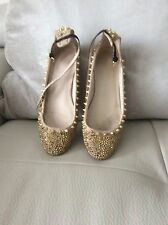 Rare ZARA Beige Leather Gold Studded Jewelled Ballerina Sandals Shoes UK 5 (38)