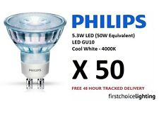 50 x Philips 5.3W (50W) Low Energy GU10 LED Spot Lamps Bulbs Cool White 4000K
