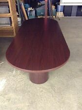 "USED RACETRACK 10'x4'x30"" CONFERENCE TABLE WITH 2 ROUND BASES BY HON"