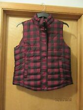 Warmest Puffer Vest GAP LG  Purple Red & Black Plaid Full Zip and Snap NWT