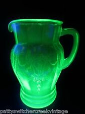 Antique Depression Vaseline Glass Anchor Hocking CAMEO Ballerina-GREEN-Pitcher