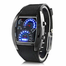 Men's Automotive Gauges Black Stainless Steel Sport Luxury Watch LED Quartz fu