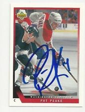 93/94 Upper Deck Autographed Hockey Card Pat Peake Florida Panthers