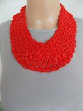Chunky Red Beaded Plait Style Statement Necklace -UK SELLER