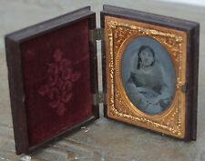 Antique Ambrotype Photo of Young Girl Woman Lady Holding Fan Daguerreotype