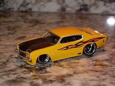 JADA 71 CHEVY CHEVELLE SS DIE CAST CAR 1/64 1971 CHEVROLET YELLOW BLACK HOOD