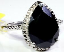 Thai Black Spinel Diamond Ring Size 7 Platinum Overl Sterling Silver TGW 6.78 Ct