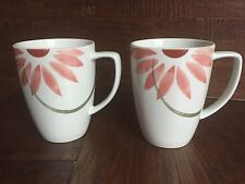 EXCELLENT CORELLE COORDINATES PRETTY PINK FLOWER COFFEE TEA CUP MUG GREEN STEMS