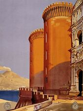 PRINT POSTER ADVERT TRAVEL TOURISM NAPOLI ITALY NAPLES CASTLE VESUVIUS NOFL0536