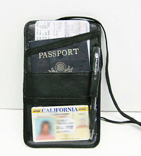 Black Men Women Leather Neck PASSPORT ID Boarding Pass Travel Holder Wallet NWT