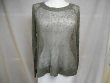 Eileen Fisher Thin Knit Sweater Sz S M Linen Sheer Solid Gray Relaxed Fit Tunic