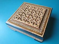 "3.5"" BOX RUSSIAN ART JEWELRY Wood w/ Birch Bark Inlaid casket hand made"