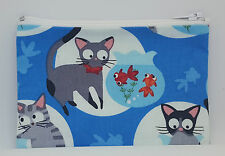 Cats Go Fishing Fabric Handmade Zippy Coin Purse Storage Pouch