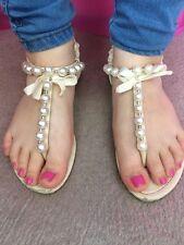 Used Ladies Size 3 Cream Pearl Look Sandals Flip Flops Worn