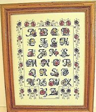 Cross Stitch Floral Alphabet Sampler Completed Finished Framed Vintage