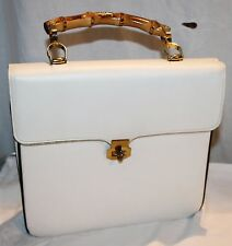 Vintage Saks Fifth Avenue White Leather Purse Wooden Handle