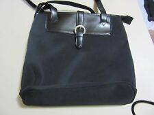 WOMEN'S BLACK  SATEEN?  QQQ? SHOULDER BAG W/PATENT LEATHER  STRAPS/PANEL