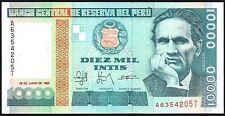 1988 PERU 10000 INTIS BANKNOTE * A 6354205 T * aUNC * P-140 *