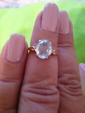 Ladies Oval Faceted Aquamarine Ring 14k Yellow Gold
