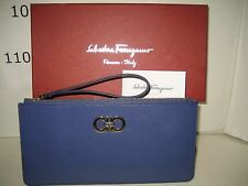 $280 NEW Salvatore Ferragamo Blue Gancini Icona Wristlet Wallet Clutch Handbag