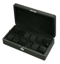 Diplomat Carbon Fiber Watch Box Case with Lock & Key (12 Watches) Black