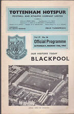 Tottenheam Hotspur FC v Blackpool Official Programme March 13 1965