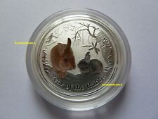 Australien 50 Cents 2011 China Lunar II Hase 1/2 Oz .999 Silber BU - Color