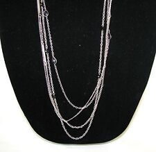 "NEW GUESS GOLD,SILVER TONE MULTI-CHAIN+GEM FANCY LONG 34"" NECKLACE"