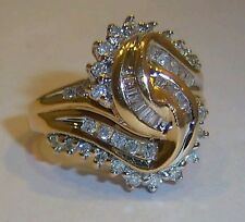 STUNNING 10K SOLID GOLD 1.00 CARRAT DIAMOND COCKTAIL CLUSTER RING~SIZE 6