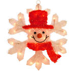 50 cm Festive Hanging Snowman Head With Snowflake Light Up Christmas Decoration