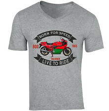 DUCATI 900 MIKE HAILWOOD - NEW COTTON GREY V-NECK TSHIRT