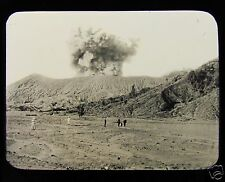 Glass Magic Lantern Slide BROMO VOLCANO ERUPTING C1890 JAVA PHOTO