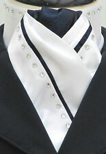 Ready tied White & Navy Blue Faux Silk Hunting/Dressage/Riding Stock & Diamantes
