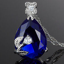 Fashion Jewelry Gift Pear Cut Blue Sapphire White Gold Gp Pendant Necklace