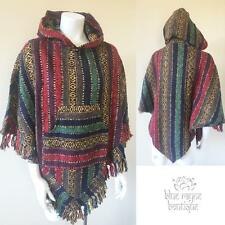 Hooded Fair Trade Tribal Cotton Pocketed Triangle Cut Blanket Poncho Red Multi