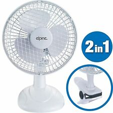 """2 in 1 6"""" Inch Clip On Silent Portable Home Office Desk Air Cooling Cool Fan New"""